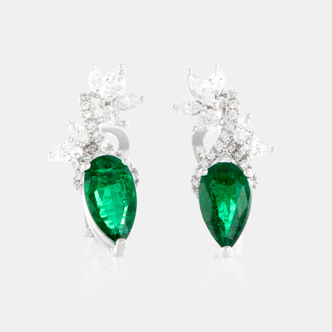 2.45ct Pear Shaped Emerald Petal Earrings with 18K White Gold and Diamonds
