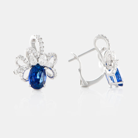 5.12ct Oval Blue Sapphire Ribbon Earring with 18K White Gold and Sapphires
