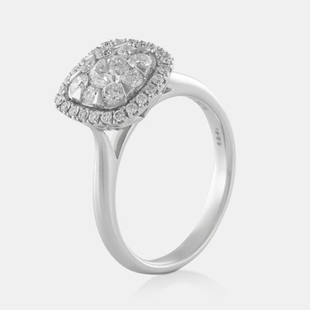 Diamond Cluster Square Shaped Ring with 18K White Gold