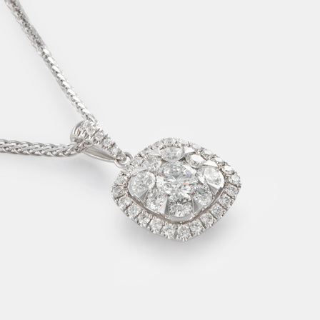 18K White Gold Signature Cushion Shaped Diamond Cluster Pendant