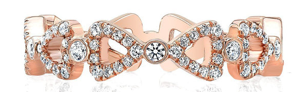 Double Ribbon Rose Gold Wedding Band for Women
