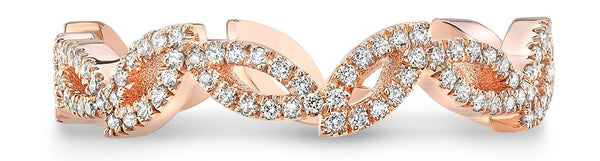 Double Marquise Woman Rose Gold Wedding Band