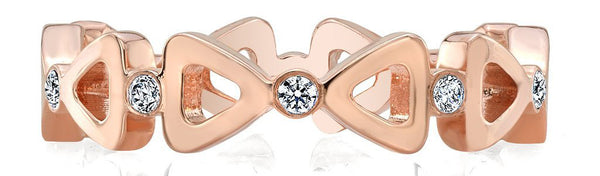 Ribbon Diamond Rose Gold Wedding Band for Women