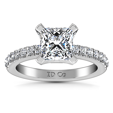 Pave Princess Cut Engagement Ring Prima