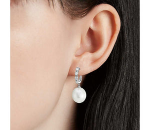 South Sea Cultured Pearl and Diamond Drop Earrings