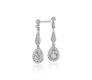 Diamond Vintage-Inspired Teardrop Earrings