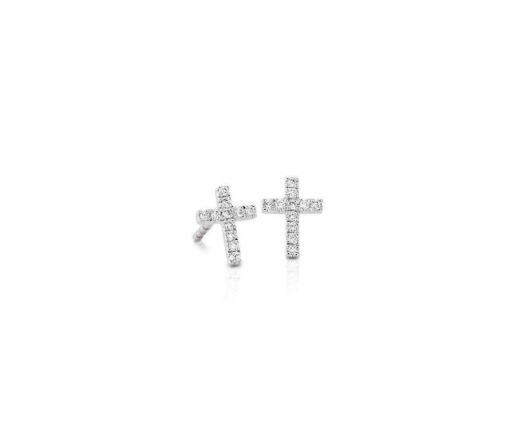 Mini Diamond Cross Stud Earrings 14k Yellow Gold (1/12 ct. tw.)