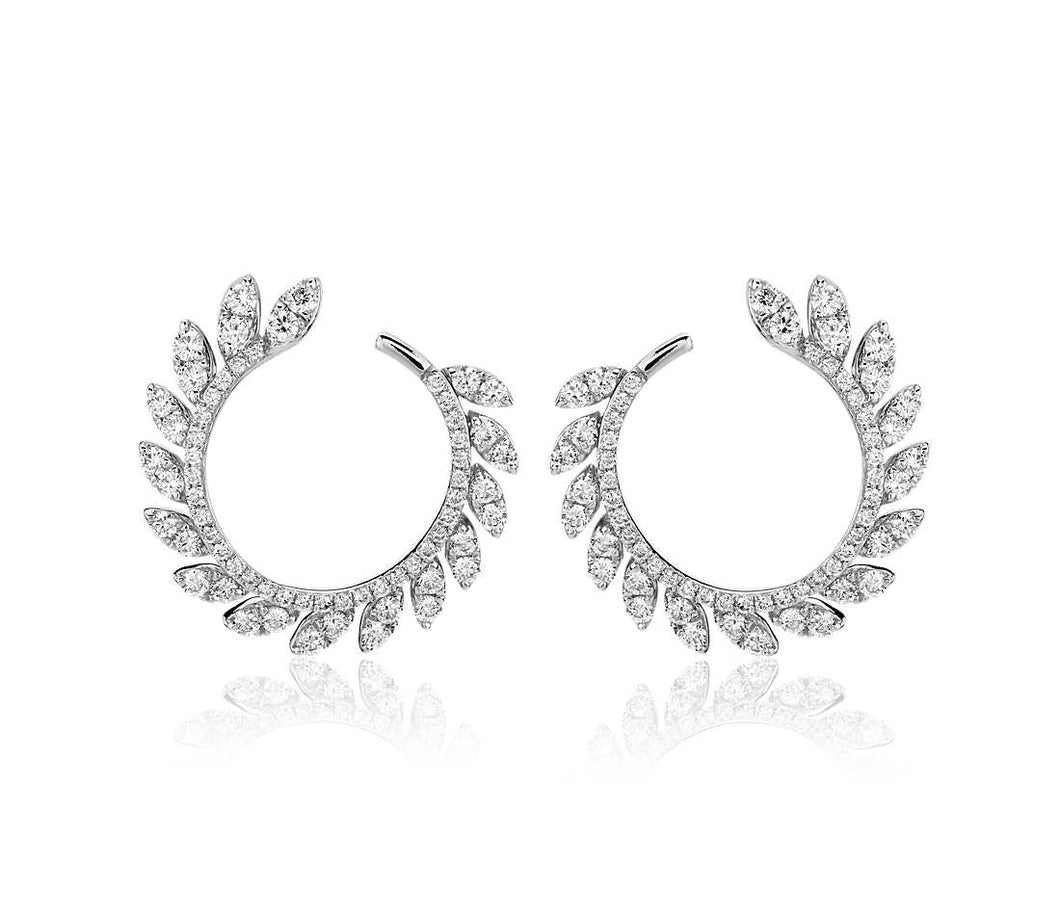Diamond Pave Leaf Hoop Earrings