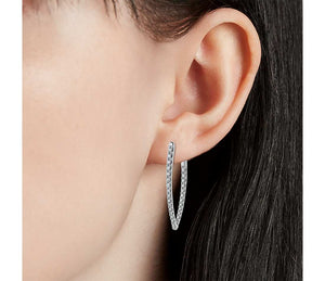 Large Point Diamond Hoop Earrings