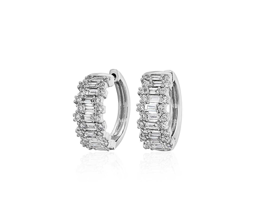 Staggered Round and Baguette Diamond Hoop Earrings