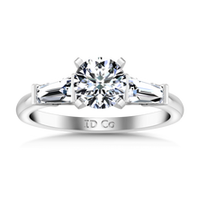 Load image into Gallery viewer, Three Stone Engagement Ring Prong Channel Set Tappered Baguette