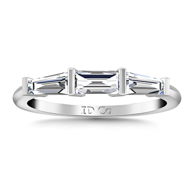Diamond Wedding Band Prong Channel Set Tappered Baguette