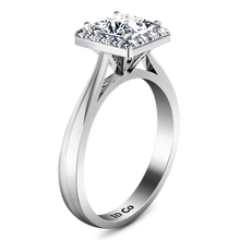 Load image into Gallery viewer, Halo Princess Cut Engagement Ring Lumiere