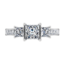 Load image into Gallery viewer, Three Stone Princess Cut Engagement Ring Rebecca