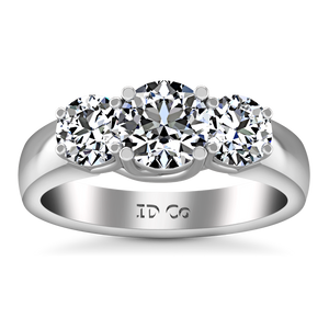 Three Stone Engagement Ring 4 Prong Lattice