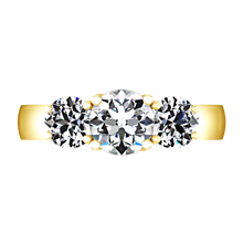Load image into Gallery viewer, Three Stone Engagement Ring 4 Prong Lattice