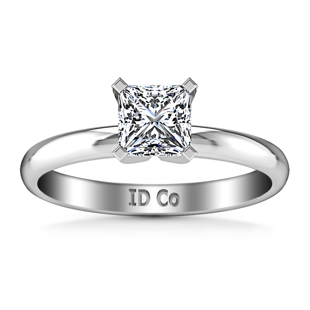 Solitaire Princess Cut Engagement Ring Comfort Fit