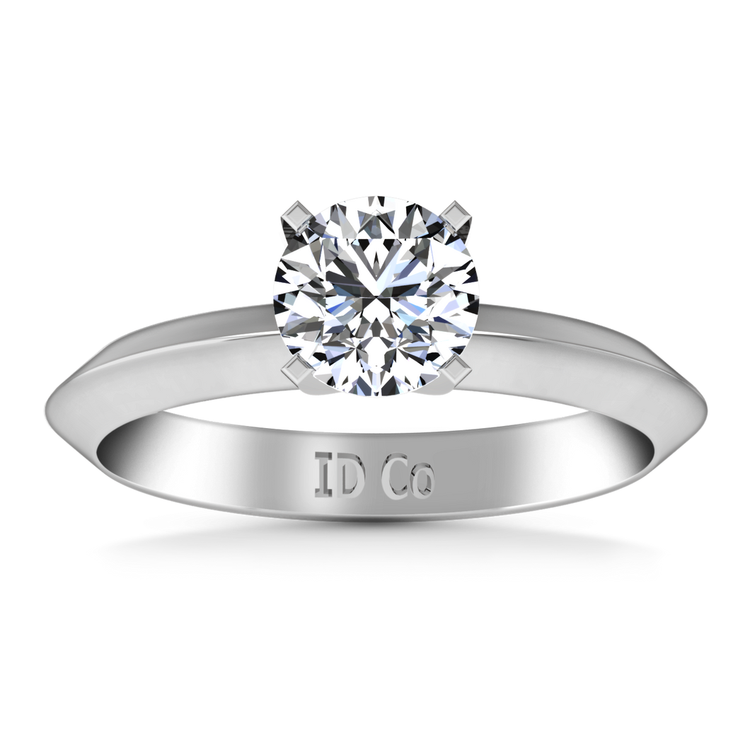 Solitaire Engagement Ring Knife Edge Round Diamond