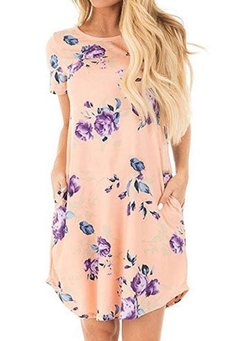 Floral O-Neck Pocket Mini Dress