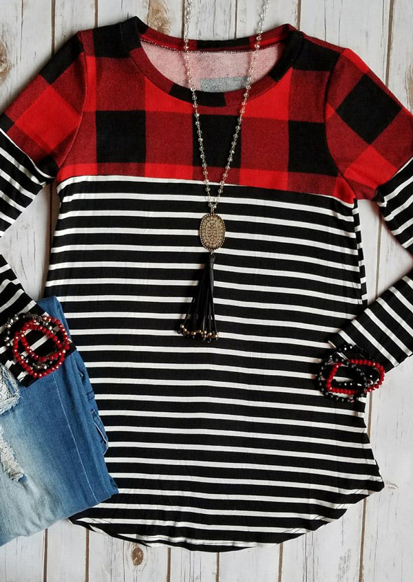 Plaid Striped Splicing O-Neck T-Shirt