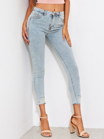 Faded Wash Frayed Hem Skinny Jeans