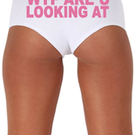 Women's Sexy Hot Booty Boy Shorts WTF Are You Looking At? Block Pink Bold Style Type Lingerie
