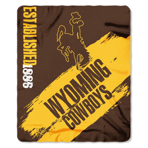 "Wyoming OFFICIAL Collegiate, ""Painted"" 50""x 60"" Fleece Throw  by The Northwest Company"