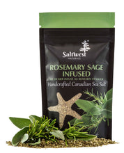 Load image into Gallery viewer, Organic Rosemary Sage Infused Sea Salt 40g