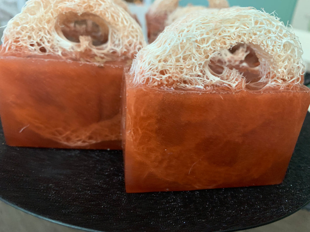 Fresh Fallen Leaves Loofa soap with flax seeds for exfoliating dry skin. Protection, prosperity, healing.