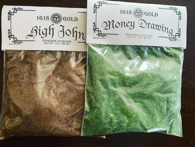 Powdered Incense. Pick your choice from the menu. Lodestone, Money, High John, Love, Protection, Good Juju