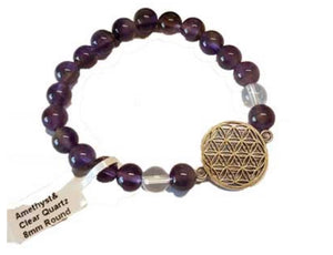 8mm Amethyst/ Quartz with Flower of Life
