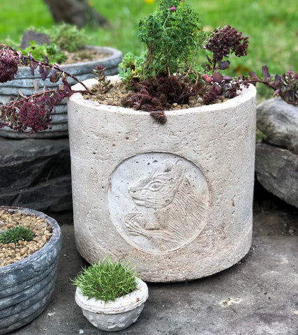 Gray Squirrel Cameo Round Planter