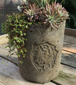 Planter with Vintage Squirrel Medallion - Charcoal