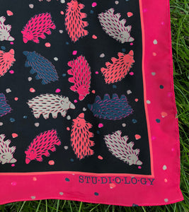 Black and Raspberry Echidna Scarf