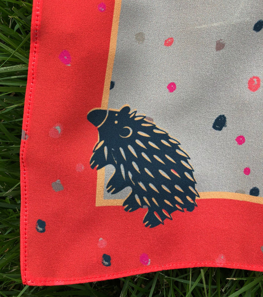 Khaki and Fire Engine Echidna Scarf