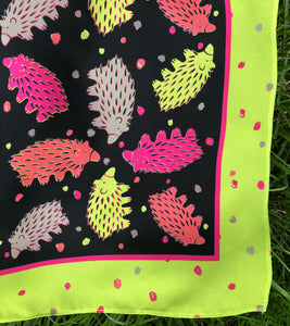 Black and Chartreuse Echidna Scarf