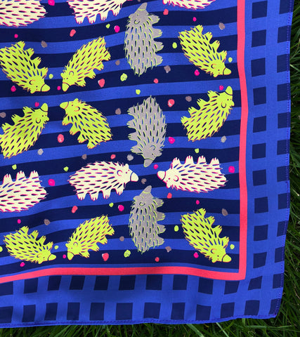 Checkered Azurite and Blue Echidna Scarf