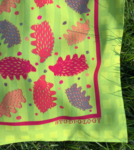 Checkered Chartreuse and Lime Echidna Scarf