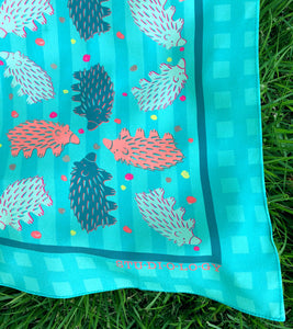Checkered Aqua and Turquoise Echidna Scarf