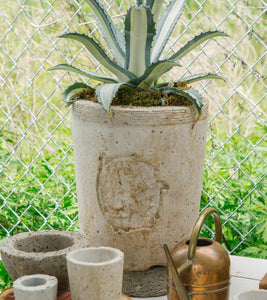 Planter with Vintage Squirrel Medallion - White