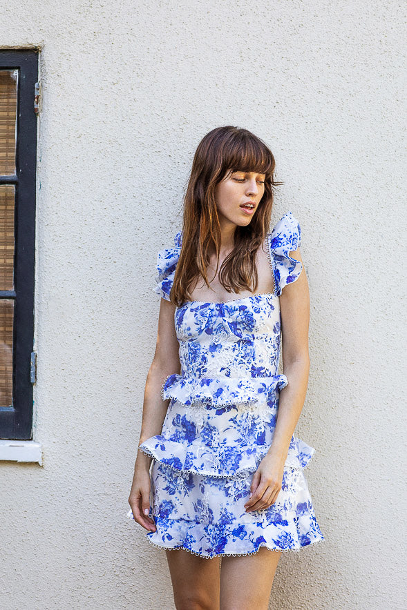 The Avignon Dress in French Blue Floral