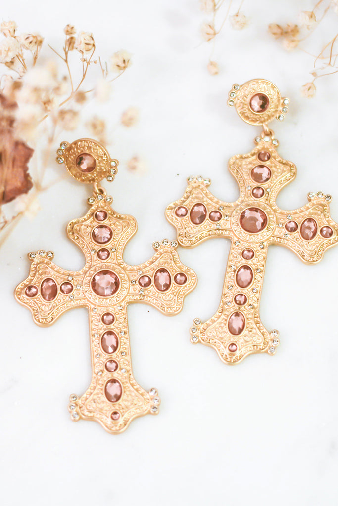 The Capri Cross Earring in Antique Pink