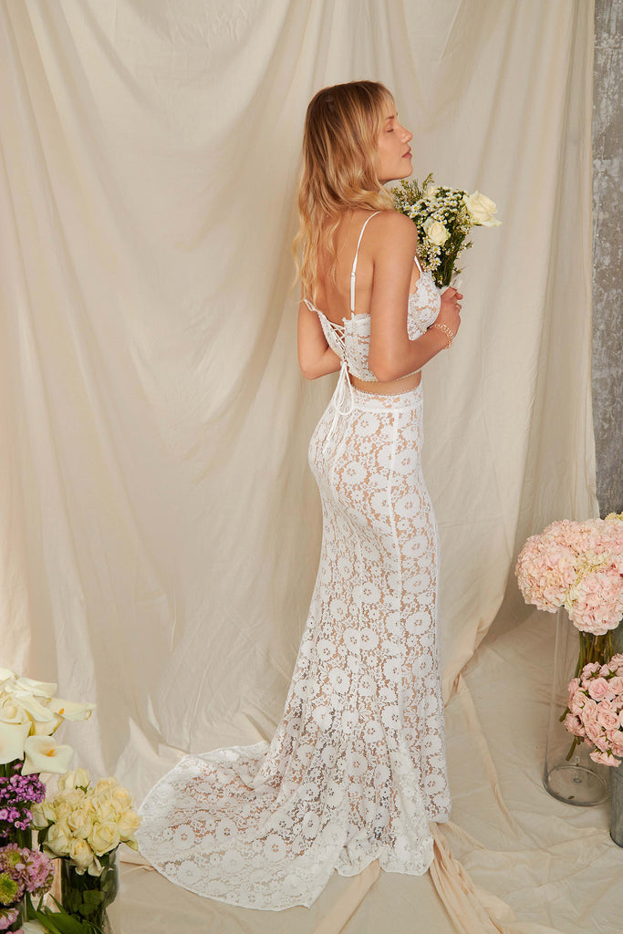 The Antoinette Skirt in White Stretch Lace