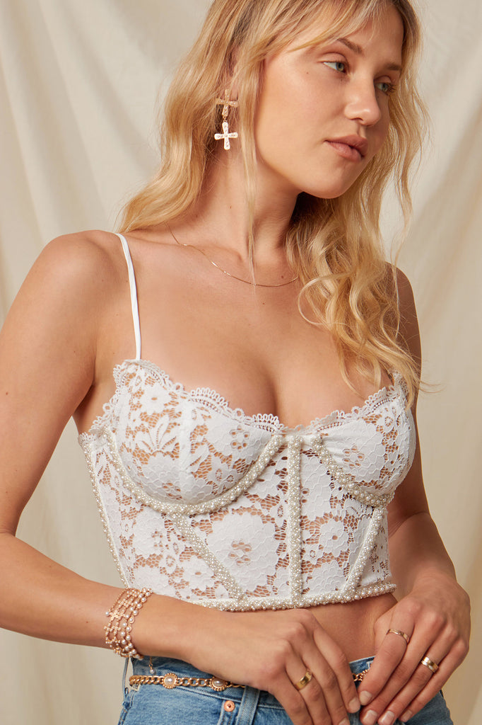 The Chateau Top in White Stretch Lace