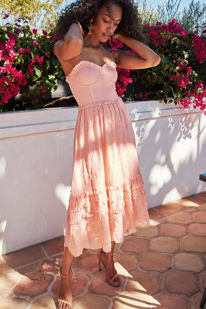The Daphne Dress in Summer Sunset Embroidery