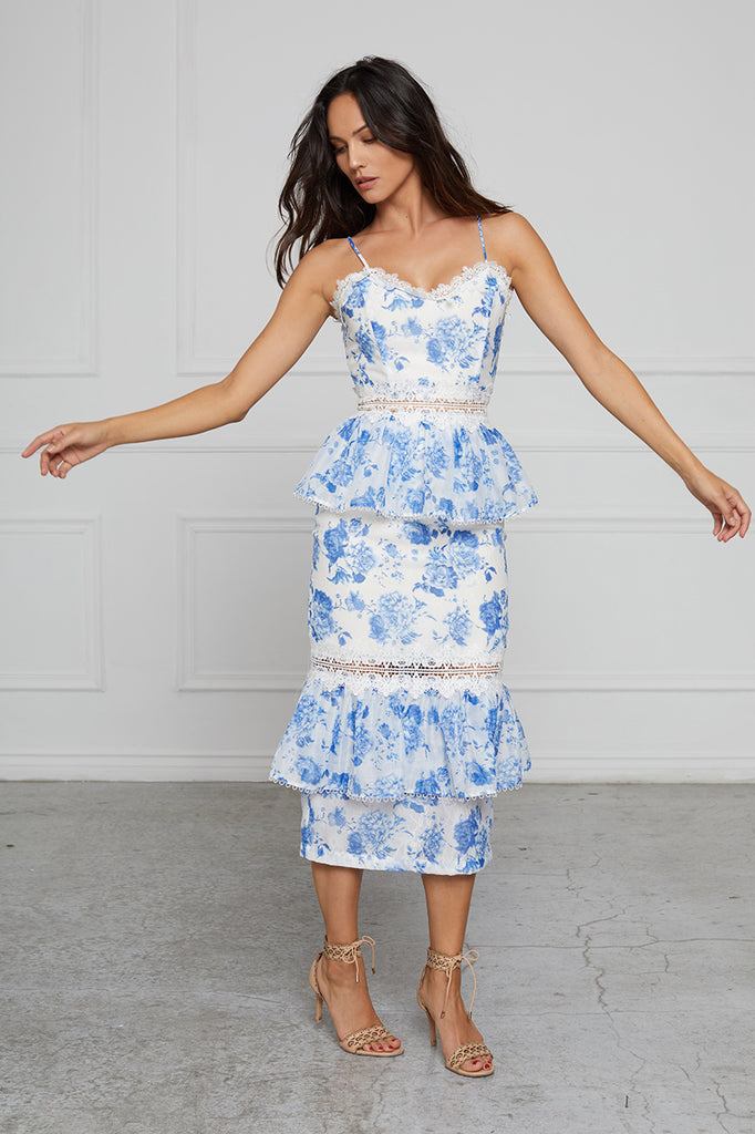 The Daffodil Dress in French Blue Floral