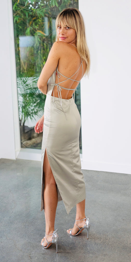 The Olivia Dress in Sage Satin