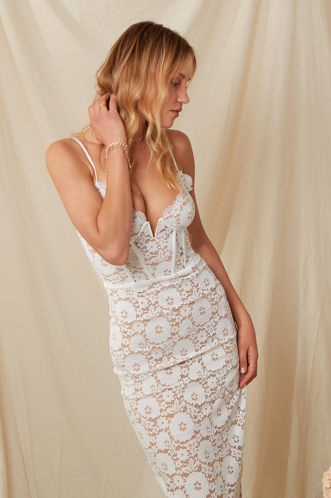 The Giselle Dress in White Stretch Lace