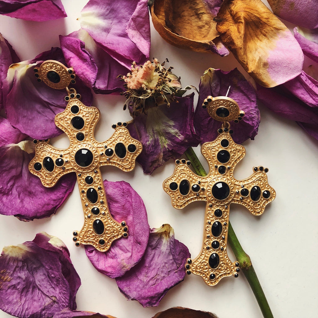 The Starry Night Cross Earring