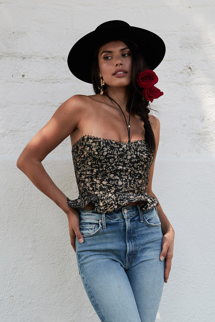 The Jument Top in Black Duchess Floral